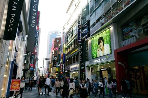 Myeong Dong à Séoul en Corée du Sud