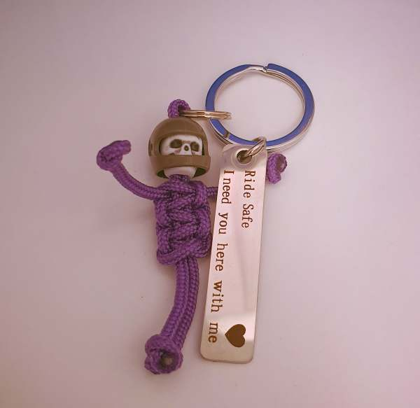 Ride safe i need you here with me keyring biker purple