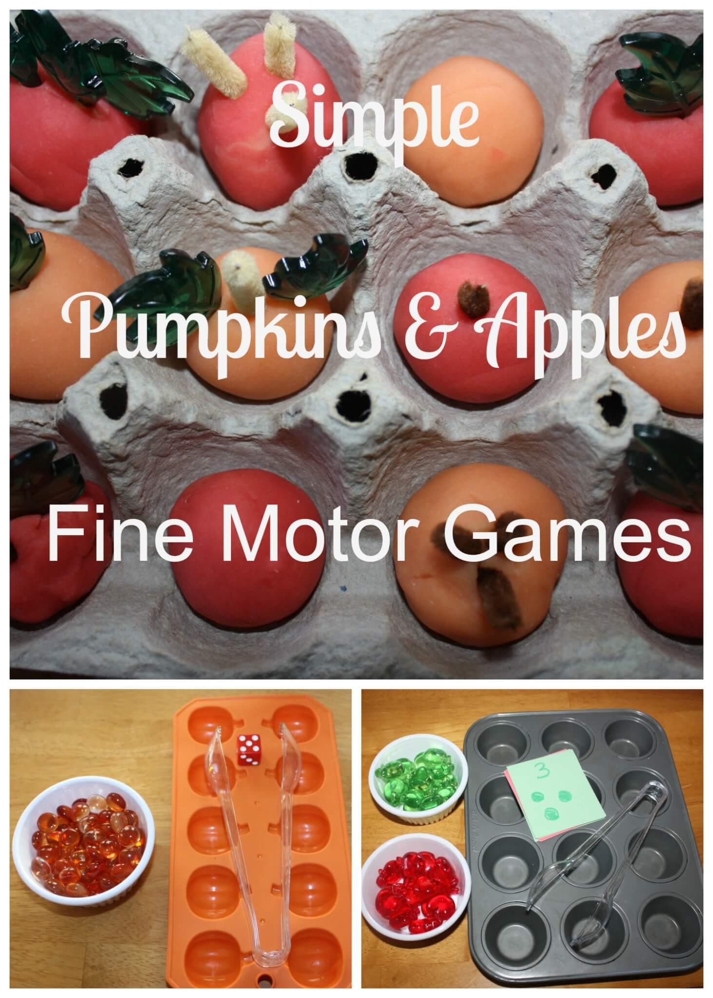 Simple Pumpkin And Apples Fine Motor Skills Games