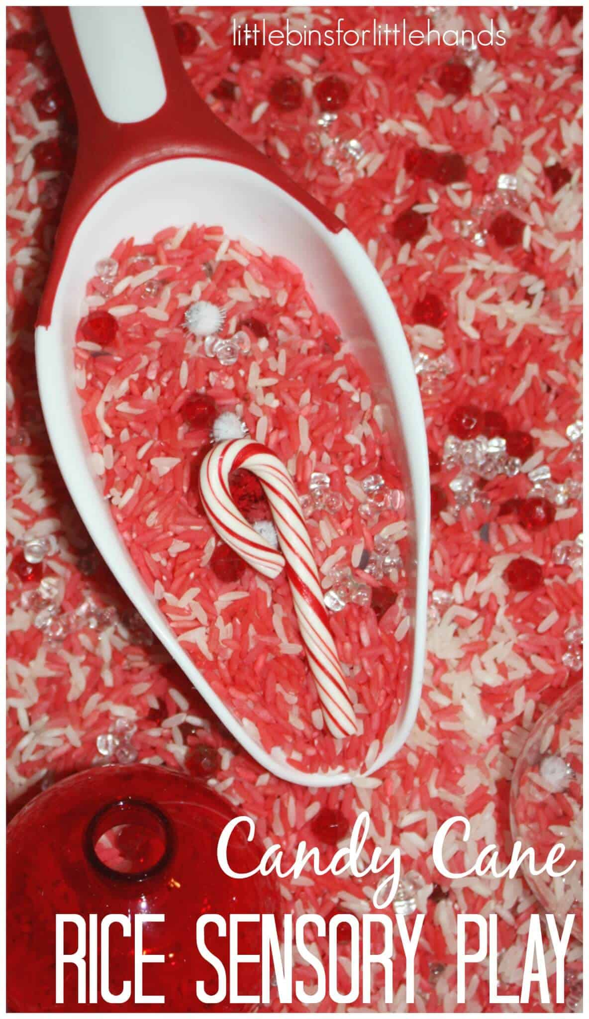 Candy Cane Sensory Play Rice Sensory Bin