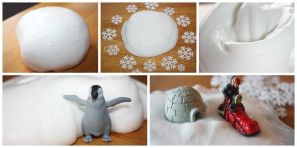 Snow Dough Slime Stretchy Slime Recipe Sensory Play