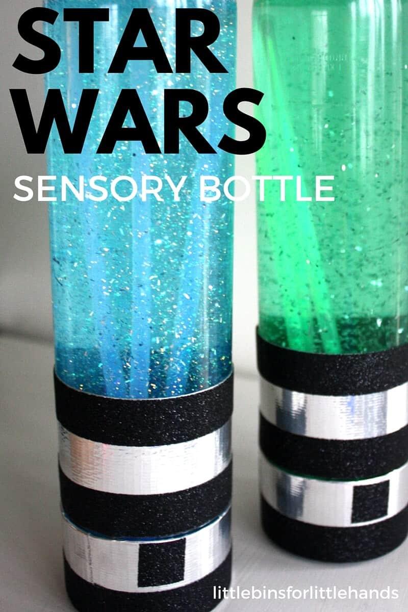 Light Saber Sensory Bottles Star Wars Activity For Kids