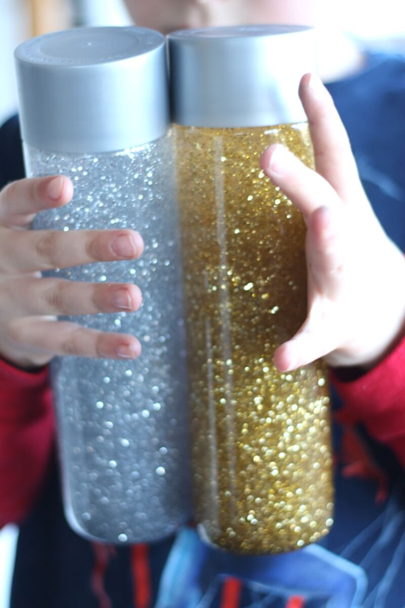 Glitter Calm Down Silver And Gold Sensory Bottles