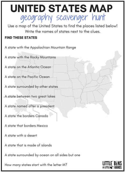 small resolution of Geography Scavenger Hunt United States Activity