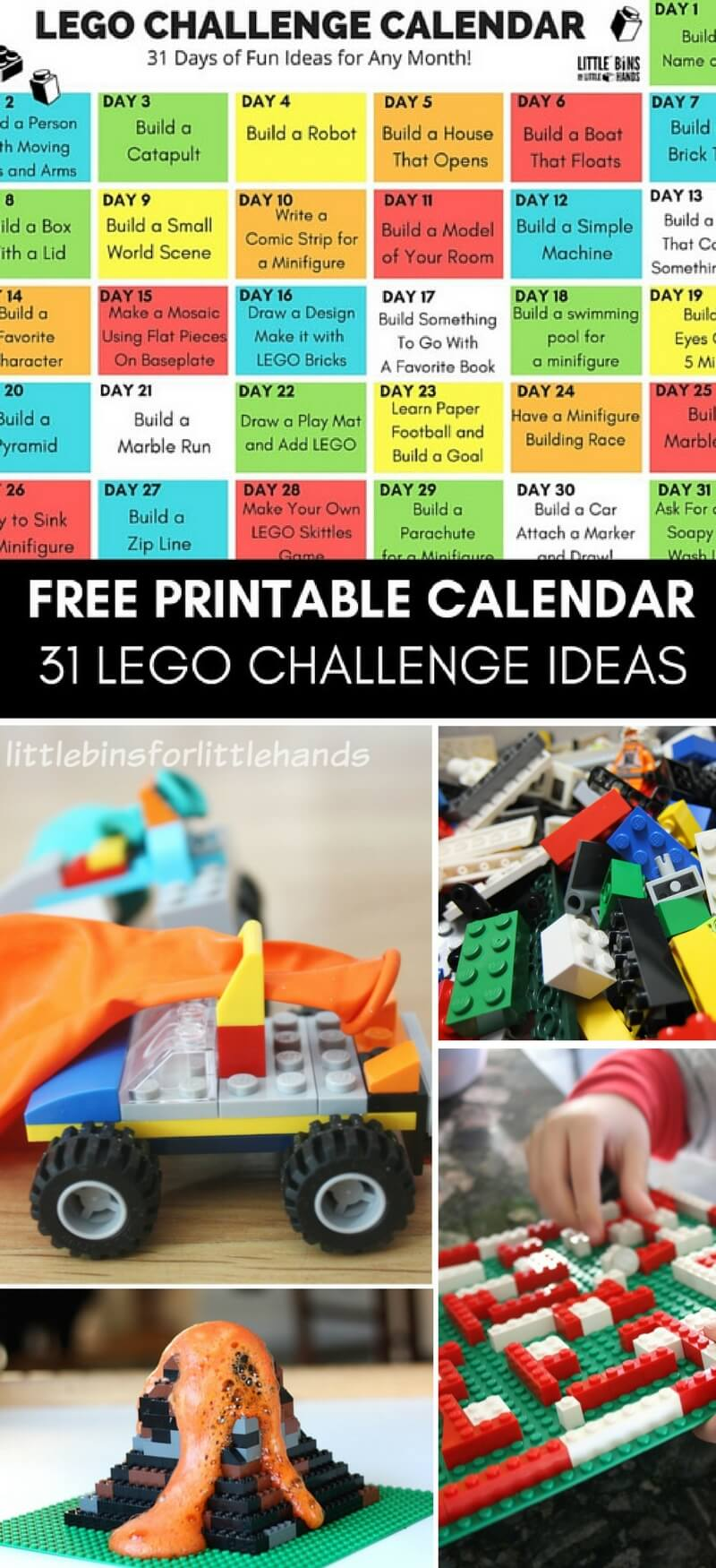 Free Printable Lego Challenge Calendar For Kids! Our 31 Day Lego Calendar  Is Filled With