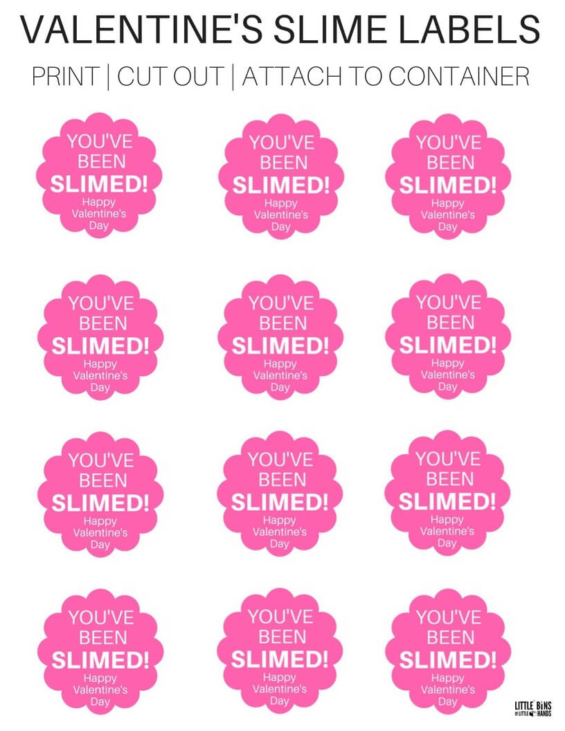graphic relating to Slime Recipe Printable named Great Of Printable Valentines Working day Slime Labels With Do-it-yourself