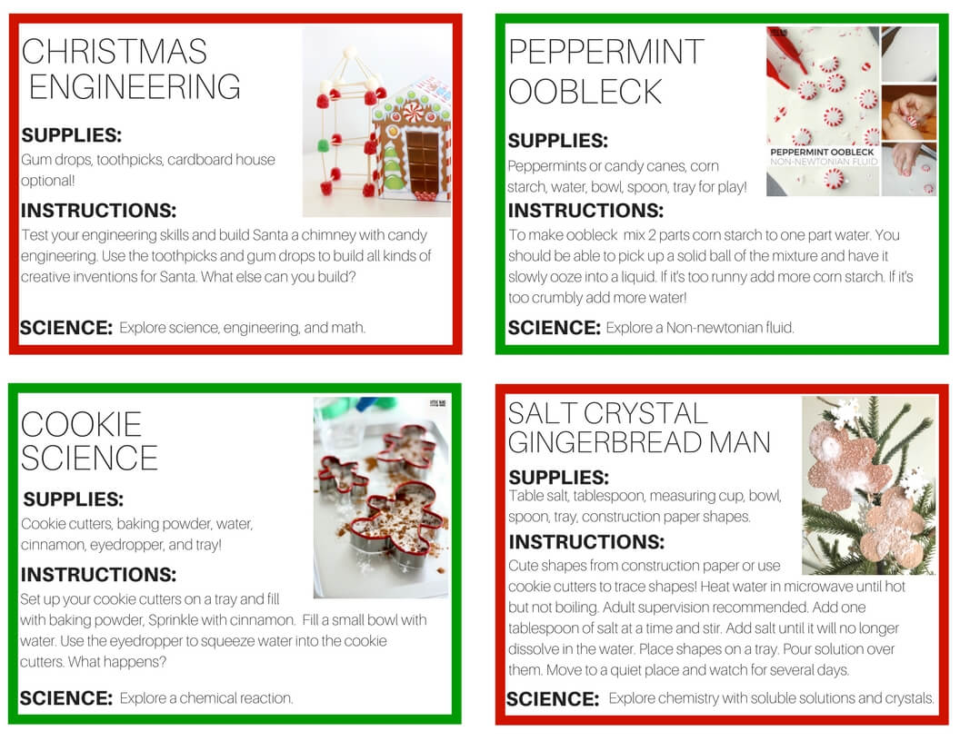 Christmas Science Experiments Printable Cards For 12 Days Of Christmas