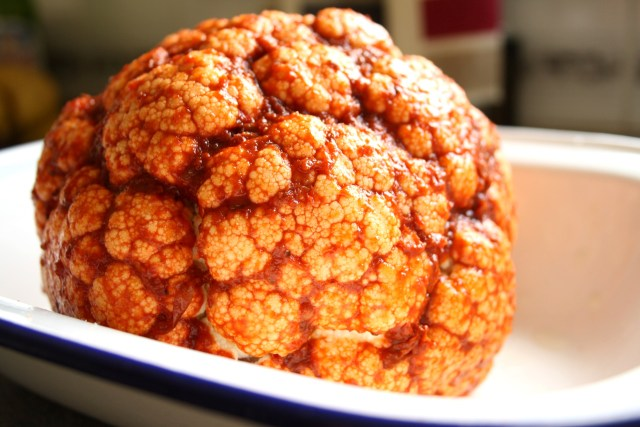 Coat Whole Cauliflower in Harissa Paste, Squeeze of Lemon & A Drizzle of Oil