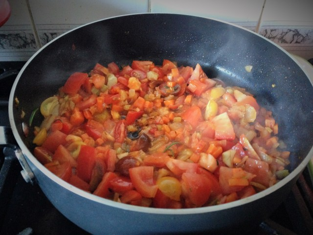 Add tomatoes, chopped garlic & chopped herb leaves and cook for 10 mins