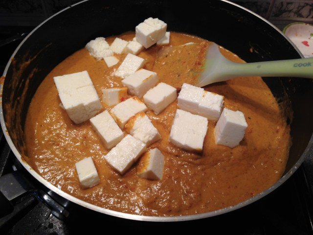 Add the chopped paneer