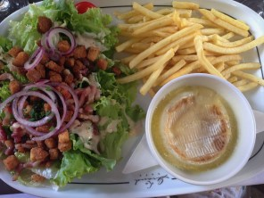 Awesome Salad - Loads on Lardons, Baked Cheese and Chips