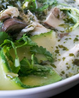 fragrant herb and coconut chicken soup