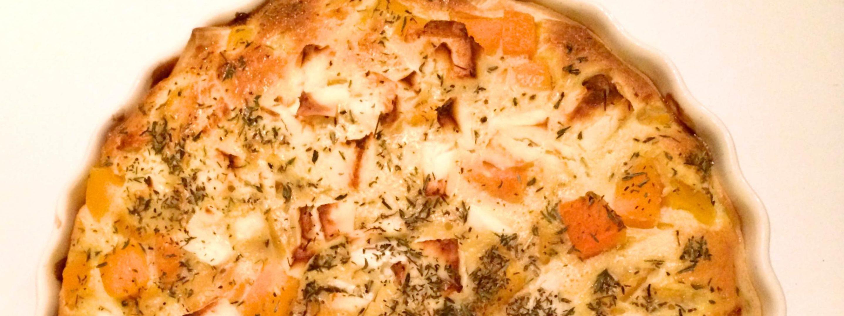 Hartige taart met pompoen spinazie