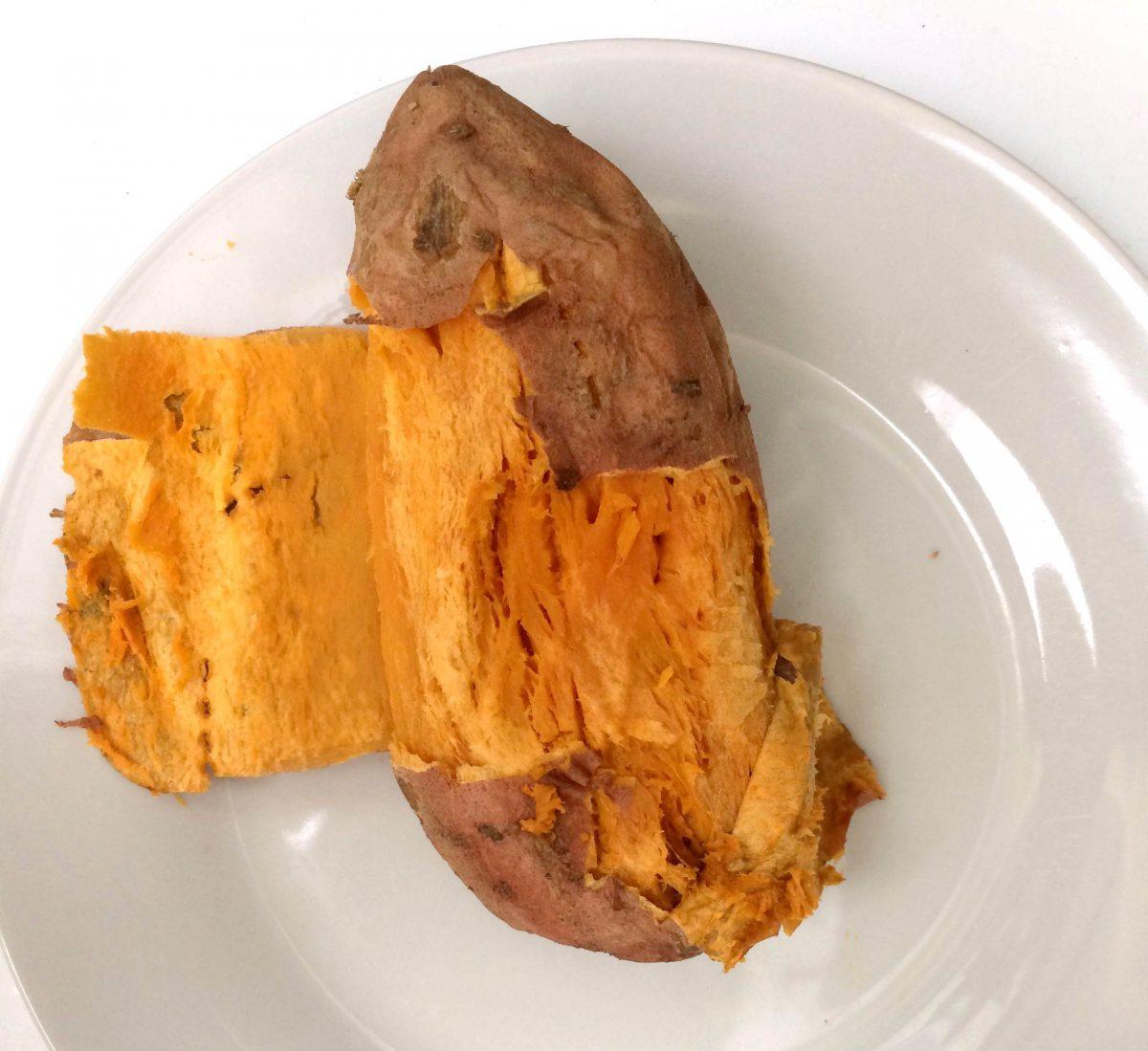 gepofte zoete aardappel voor zoete aardappel gnocchi