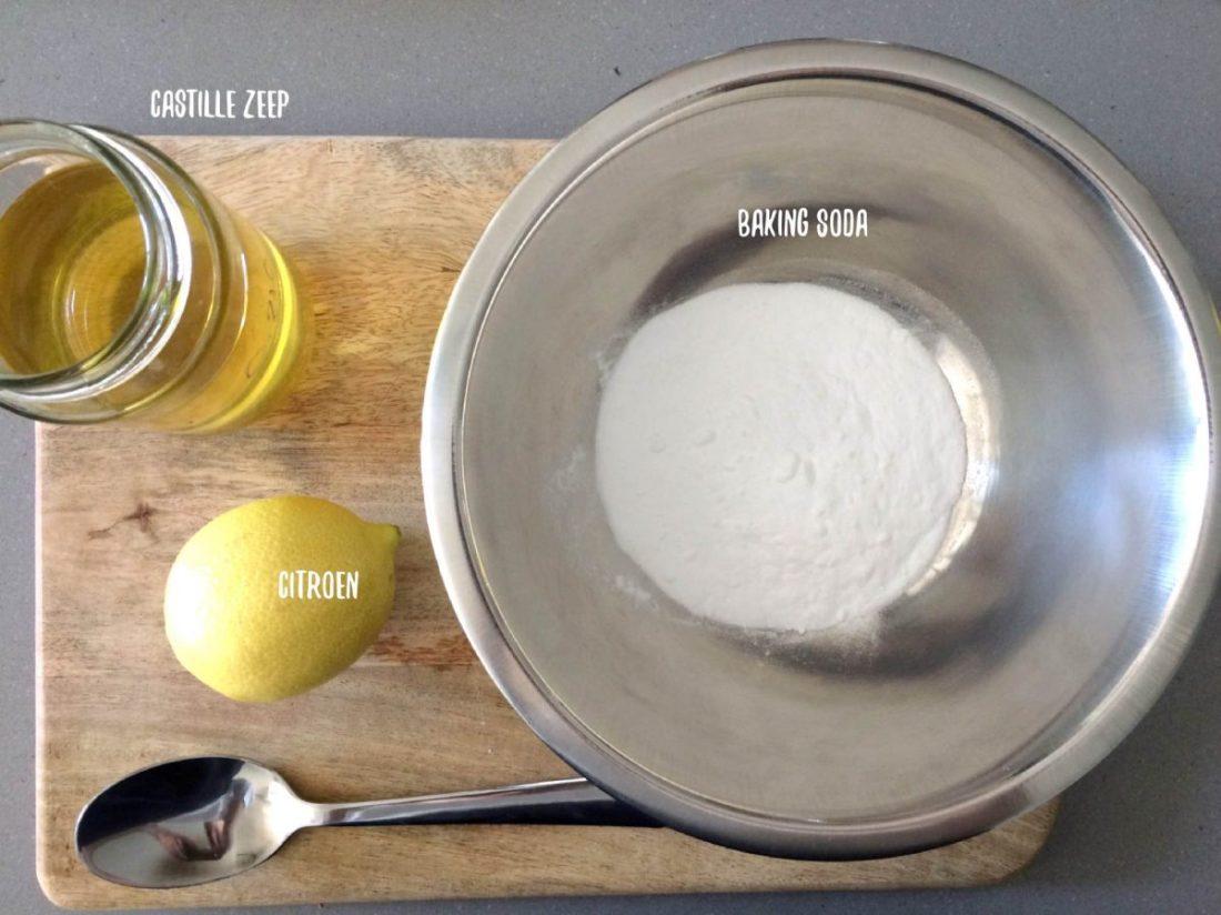Ingrediënten groene schoonmaakmiddelen - afwasblokjes