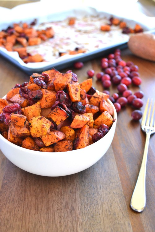 Thanksgiving Side Dishes Cinnamon Roasted Cranberries and Sweet Potatoes