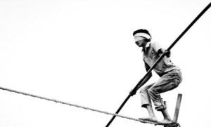 Tightrope-walking-blindfolded