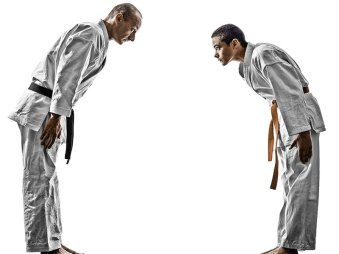 two men bowing