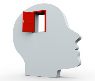 3d head and open door