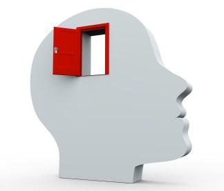 3d head and open door