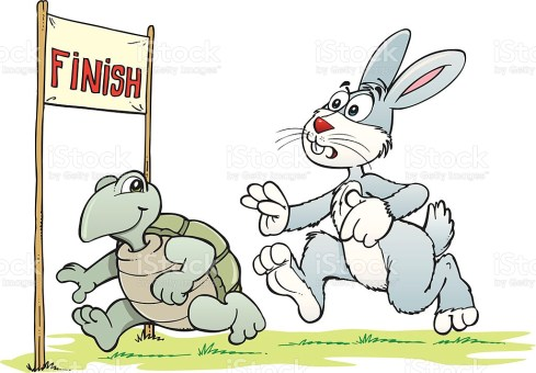 Illustration of race between rabbit and turtle.