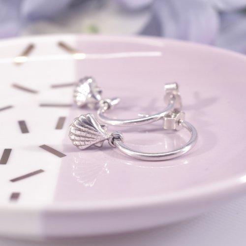 Handmade Sterling Silver Seashell Huggie Hoop Earrings