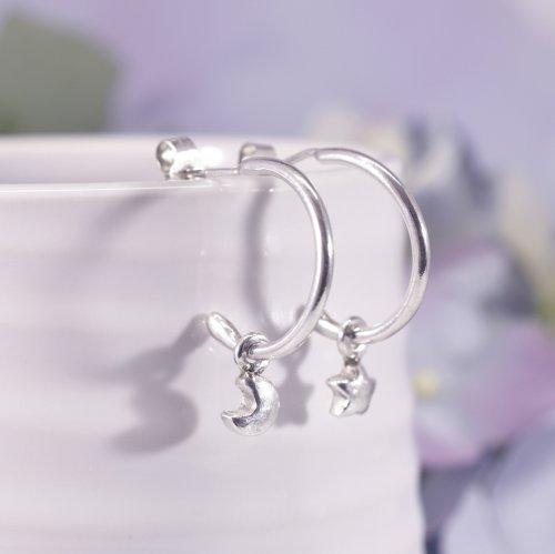 Handmade Sterling Silver Moon & Star Huggie Hoop Earrings