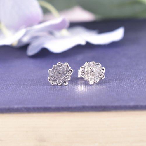 Handmade Sterling Silver Lotus Flower Stud Earrings