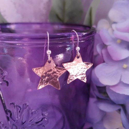 Handmade Hammered Copper Star Drop Earrings