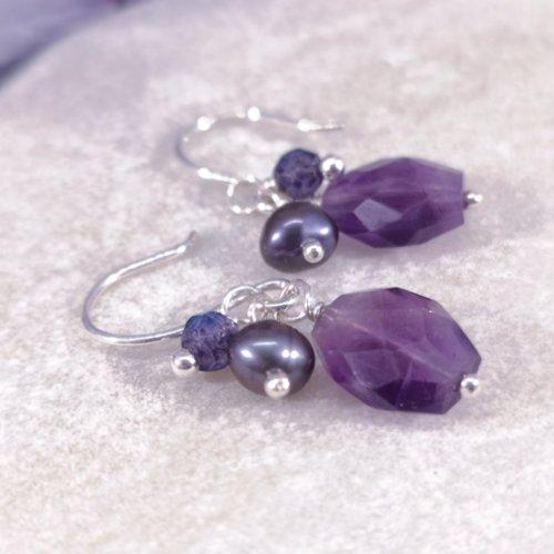 Handmade Sterling Silver Amethyst Cluster Drop Earrings