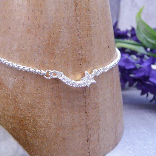 Handmade Sterling Silver Shooting Star Bracelet