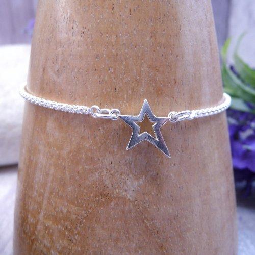 Handmade Sterling Silver Chunky Star Bracelet