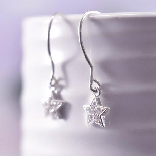 Handmade Sterling Silver Cubic Zirconia Star Drop Earrings