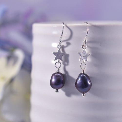 Handmade Sterling Silver Starry Night Drop Earrings