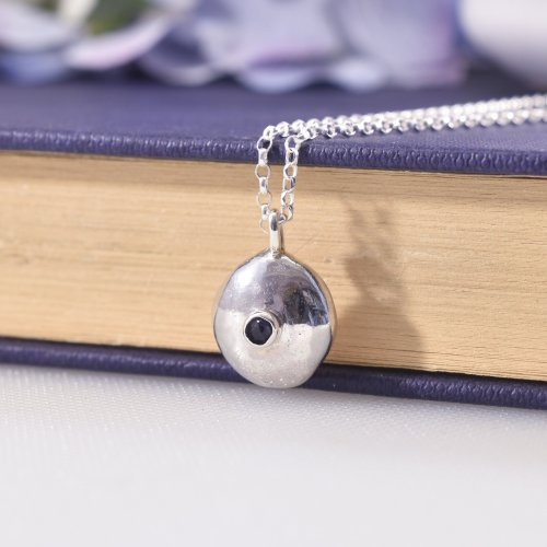 Handmade Recycled Sterling Silver Iolite Pebble Necklace