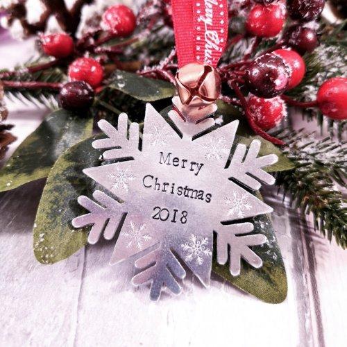 Handmade Personalised Christmas Snowflake Decoration