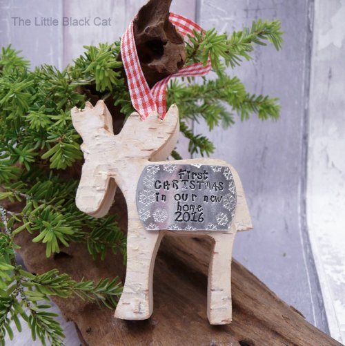 Handmade First Christmas In Our New Home Reindeer Decoration
