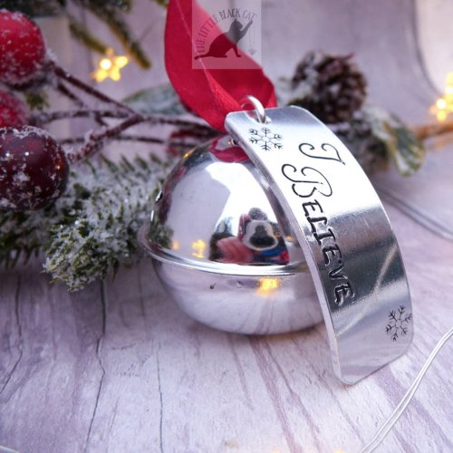 Handmade Silver Christmas Believe Bell Decoration