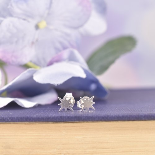 Sterling Silver North Star Stud Earrings