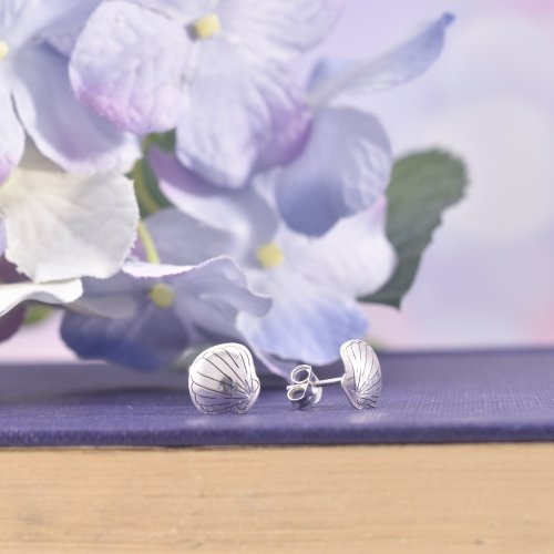 Handmade Sterling Silver Seashell Stud Earrings