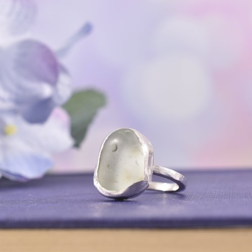 Handmade Sterling Silver Chunky Sea Glass Ring | Size N