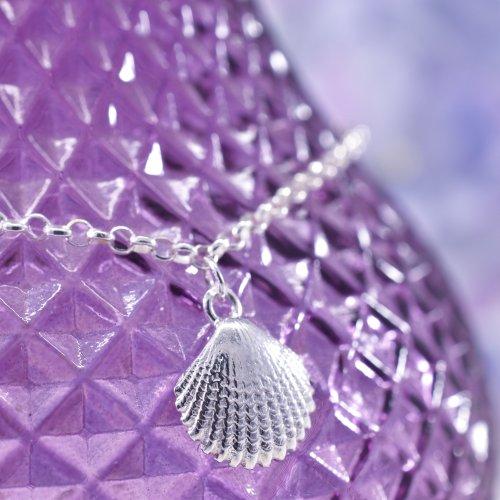 Handmade Sterling Silver Seashell Anklet
