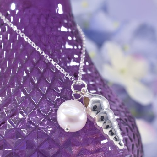 Handmade Sterling Silver & Pearl Spiral Shell Necklace