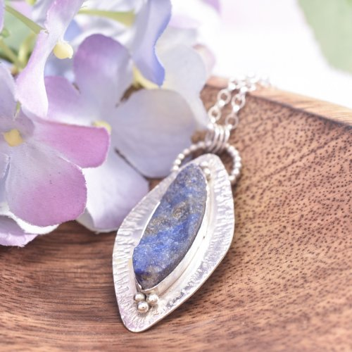 Handmade Sterling Silver and Lapis Lazuli Inanna Necklace