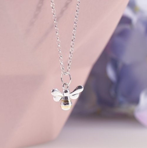 Handmade Sterling Silver & Gold Bumble Bee Necklace