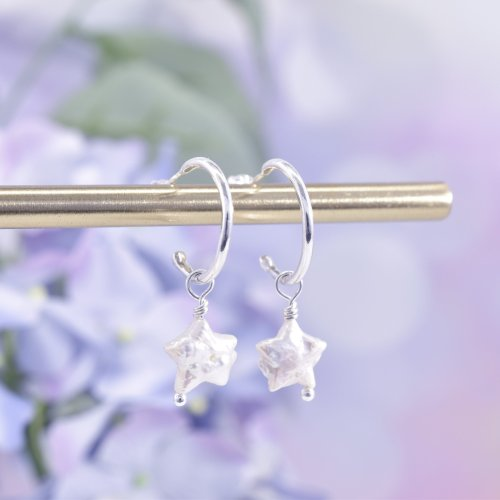 Handmade Sterling Silver Sea Star Huggie Hoop Earrings