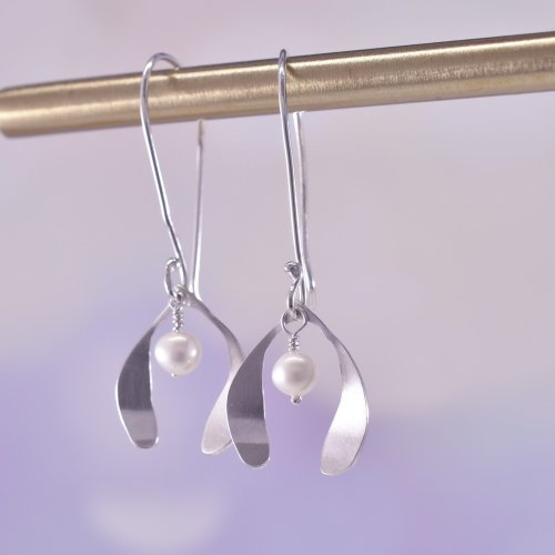 Handmade Sterling Silver Mistletoe Kisses Earrings
