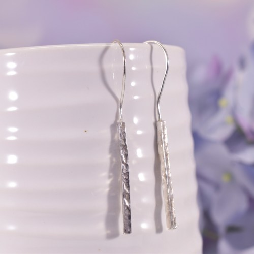 Handmade Sterling Silver Hammered Bar Earrings