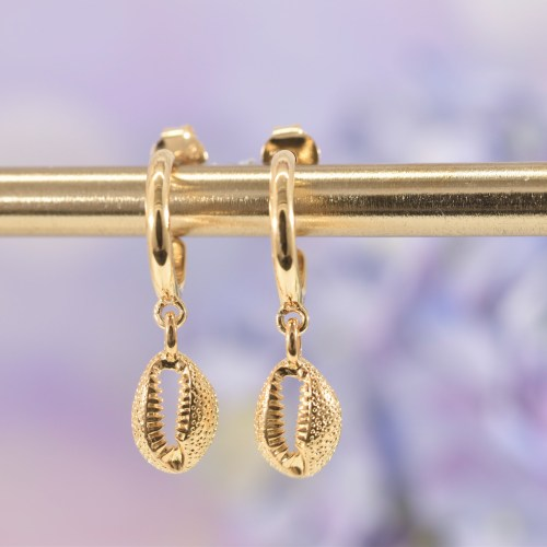Gold Cowrie Shell Huggie Hoop Earrings
