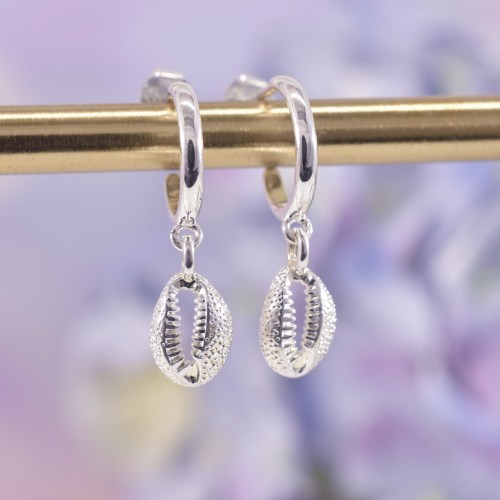 Sterling Silver Cowrie Shell Huggie Hoop Earrings